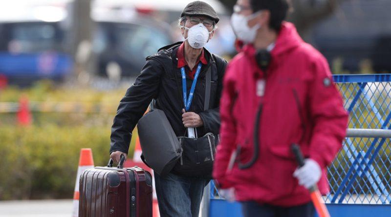 pessoas com máscara e malas